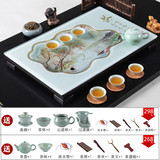 Glass tea plate tempered home set rectangular large drainage type glass Chaozhou Kung Fu tea set new package mail