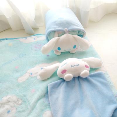 软萌玉桂狗大耳狗便携卷毯午睡枕多功能空调毯毛绒法兰绒毯儿童毯
