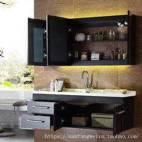 简约现代浴室柜组合定制橡木实木储物吊柜镜柜手盆洗漱台洗脸盆柜