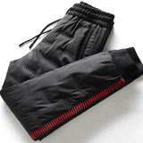 Winter cold-resistant and warm down pants fashion collision ribbon personality rubber-pressed young men's feet leisure down pants
