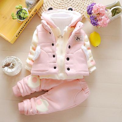 婴幼儿冬装0男女童套装2017新款宝宝加绒加厚卫衣三件套1-2-3-4岁