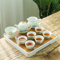 Simple household tea set celadon gold kungfu tea set teapot cup lid bowl modern tea tray Japanese style