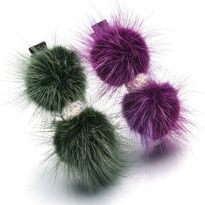 韩国饰品真水貂毛毛球毛绒发卡抓夹发夹鸭嘴夹发饰女兔毛皮草头饰