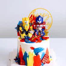 变形金刚蛋糕装饰 擎天柱大黄蜂蛋糕装饰摆件汽车人蛋糕装饰