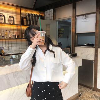 白色衫2019新款女装春装时尚衬衫洋气红色格子欧货小衫百搭打底衫