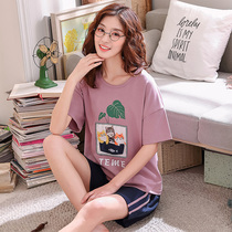 Short sleeve Pajamas Lady Summer cotton Korean version cute thin loose shorts autumn summer home wear two pieces set