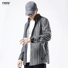 男ifashion衬衫 外套潮流宽松休闲长袖 男外套 伏神日系条纹工装 衬衫图片
