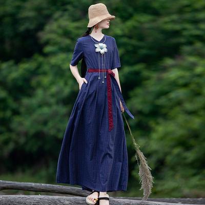 莹如文艺复古格子纹连衣裙女夏季宽松款V领显瘦长裙子气质大摆裙