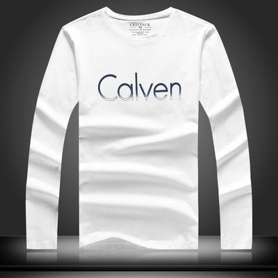 Ceivin ck长袖T恤男装圆领修身莱卡纯棉上班休闲潮T 欧洲站打底衫