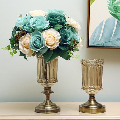 欧式创意玻璃花瓶水晶摆件客厅现代简约新古典美式插花装饰品摆设是什么牌子