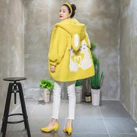 KEIKO/凯莉欧原创2018春季新款卡通绣花连帽A字羊羔绒大衣外套女
