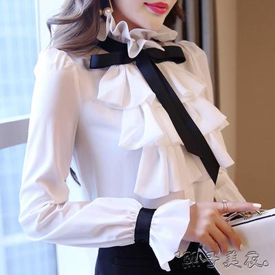 白衬衫女长袖2018夏装新款宫廷复古系带荷叶边雪纺衫修身显瘦上衣