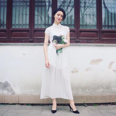 槿爷改良旗袍连衣裙chic复古温柔白色蕾丝少女仙女仙气礼服女超仙