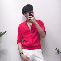 2019夏季新款时尚薄款大V领五分袖衬衫男韩版潮流打底中袖衬衣男