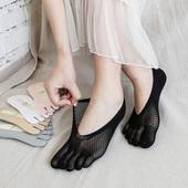 夏季新品 天鹅绒丝袜五趾袜隐形船袜防勾丝网眼袜 五指袜女士超薄款