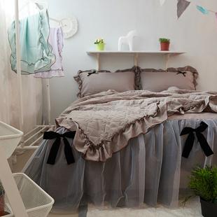 床上四件套全棉纯棉1.8m床双人荷叶边被套床单床裙款蕾丝边公主风