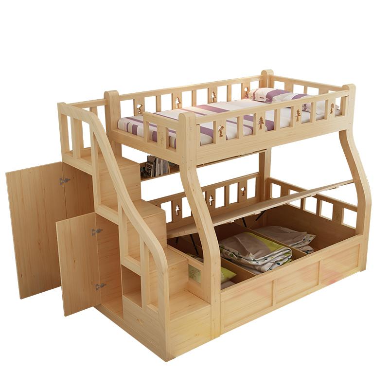双层床儿童上下床 成人母子床实木子母高低床上下铺高箱多功能床