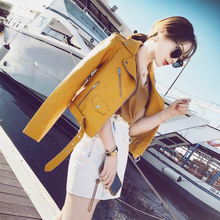 Fall and Winter 2019 New Korean Baitao Slim Chic Leather Jacket Pu Leather Jacket Small Coat for Lady's Short Motorcycle Wear