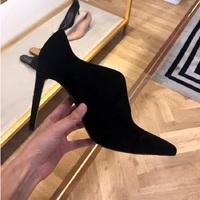黑色高跟裸踝靴短靴