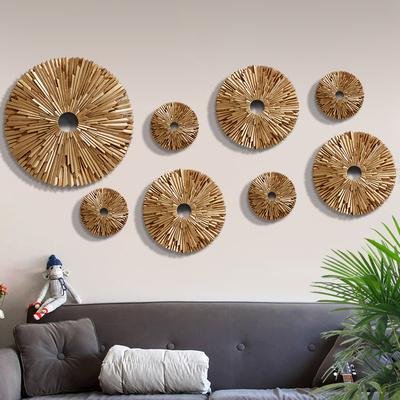 圓形墻面裝飾品創意客廳壁飾墻壁掛飾電視墻背景墻上3D立體掛件網上商城