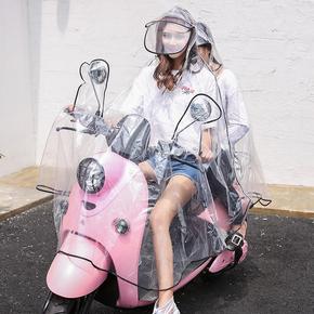 EVA时尚透明电动车摩托车电瓶车双人雨衣雨披加大宽头盔式双帽檐