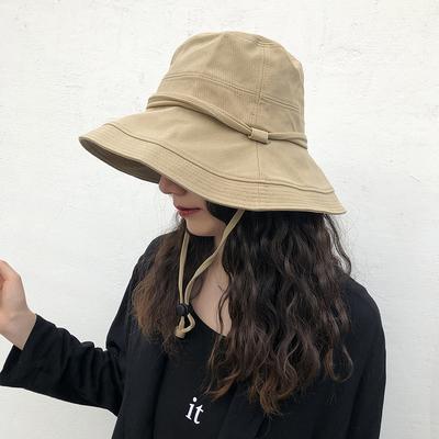 厚实防紫外线遮阳帽夏天女士防晒百搭优质棉大檐带防风绳渔夫帽子