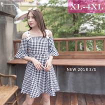 172巷大码女装黑白格子裙小礼服2018夏季新款XL-4XL露肩连衣裙女