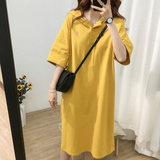 Out-of-town lactation dress Summer new fashion mothers postpartum age-reducing leisure 100 sets of loose cap Short Sleeve Dress