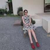 新款 TTSS波点连衣裙2019夏装 背心裙中长款 灰绿色皱褶圆领无袖 时尚