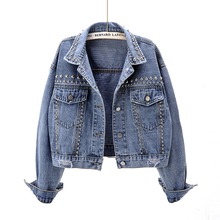 New Korean version of spring clothes 2019 heavy rivet short jeans jacket female loose Korean version student jacket trend