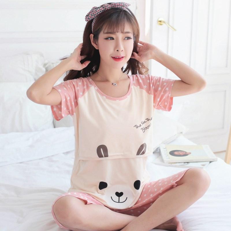 孕妇睡衣夏女短袖套装怀孕期纯棉月子服夏季薄款产后产妇哺乳喂奶