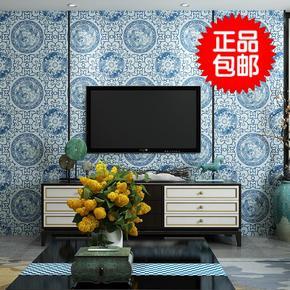新中式复古青花瓷家装墙纸古典图腾茶楼玄关防水壁纸电视背景墙纸