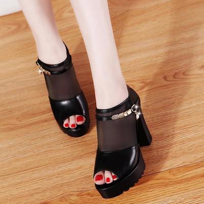 2018新款韩版蕾丝网纱鱼嘴靴春季短靴透气女鞋高跟凉鞋罗马鞋