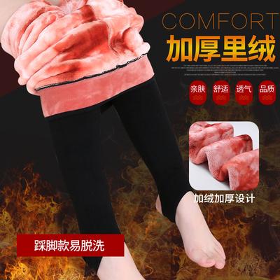 儿童打底裤加绒加厚潮冬季小女孩裤子中大童二层高腰女童棉裤外穿