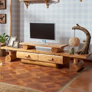 全实木带抽电视柜柏木客厅储物原木环保现代中式民宿创意家具定制