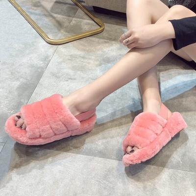 松高鞋女厚底2018新款秋季坡跟网红凉鞋韩版时尚百搭学生毛毛鞋子