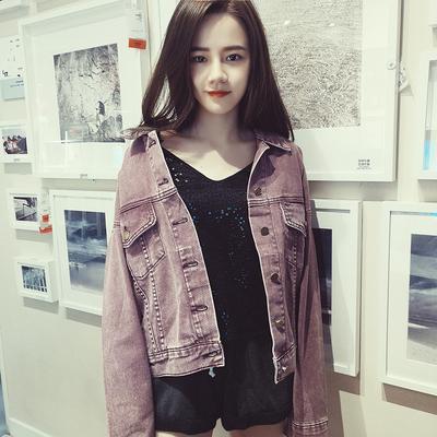 糖果色短款牛仔外套女春秋修身显瘦bf学生休闲上衣2018新款韩版潮