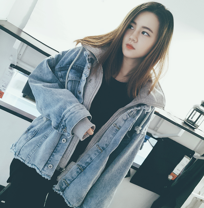 Denim jacket female winter holiday two loose plus velvet thickening lamb plush cotton clothing loose fight