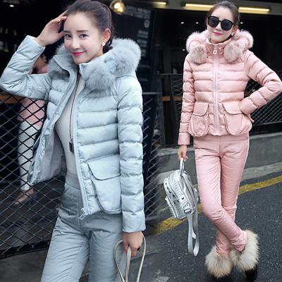 2018冬季新款女装套装羽绒棉服大码加厚修身短款棉衣两件套真毛领