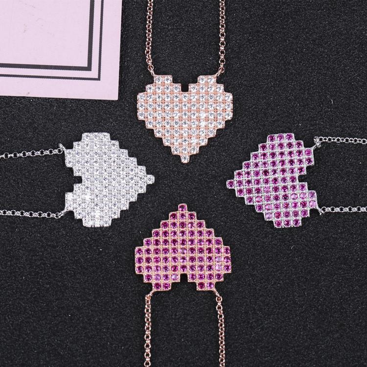 欧美跨境桃心项链女镶钻爱心S925纯银粉色钻心形吊坠毛衣链可伸缩