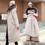 Cotton women 2019 new Korean version of the winter large size pregnant women fashion long plus velvet down cotton pad over the knee to overcome
