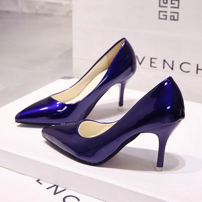欧美7cm蓝色细跟高跟鞋尖头亮面中跟婚鞋性感黑色漆皮工作单鞋女