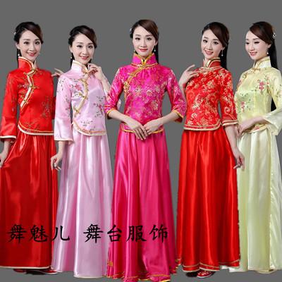 古典民乐古筝大合唱舞蹈演出服民国风小姐古装伴娘礼服女成人中式品牌资讯