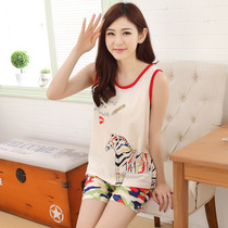 Daily specials summer cotton vest womens pajamas suit summer sleeveless Korean shorts loose home service women