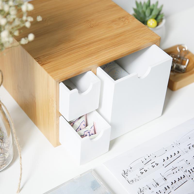 办公室桌面收纳盒架 抽屉式竹木创意客厅卧室杂物办公用品整理盒
