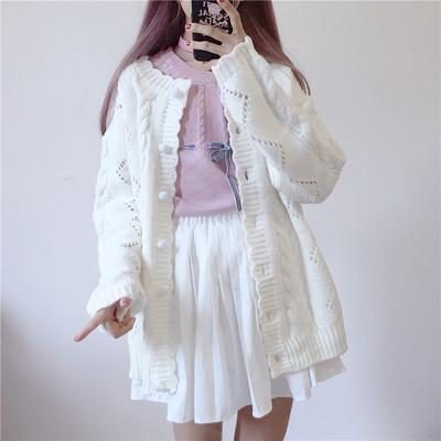 日系软妹学院风百搭镂空麻花单排扣纯色宽松针织毛衣学生开衫外套