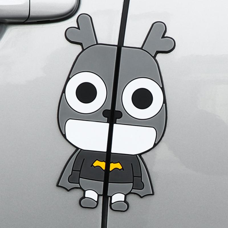 4片装 汽车卡通车门防撞条门边防刮擦胶条装饰车身贴3D立体防撞贴