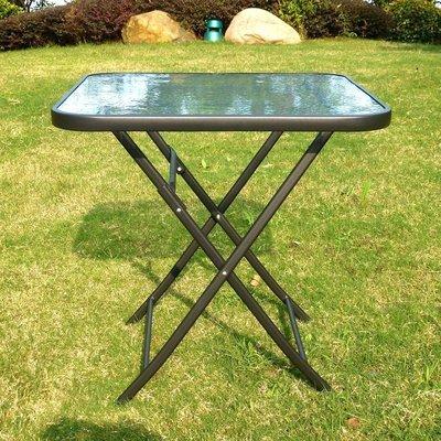 折叠方桌户外休闲洽谈桌椅欧式简约奶茶咖啡庭院餐桌钢化玻璃促销实体店