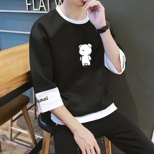 夏季宽松7七分袖 bf风半袖 t恤男短袖 韩版 卫衣青少年学生潮流上衣服
