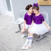 儿童演出服蓬蓬裙合唱团钢琴表演服女童啦啦操服爵士紫色亮片舞蹈图片